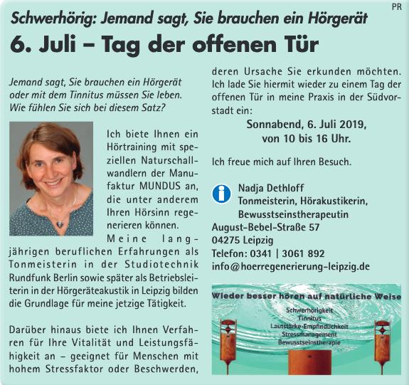 Anzeige Ortsblatt Tag der offenen Tür 6.7.19